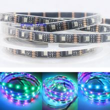 5M WS2801 IC Digital Addressable RGB Dream Color LED Strip, 160 LEDs 32Leds/M pixel 12mm Black PCB IP67 Silicone Waterproof DC5V