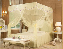 Light Yellow/Beige Luxury Lace Four Corner Post Bed Canopy Mosquito Netting No Frame Post