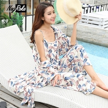 Summer beach travel 3-piece robe suits floral sexy women pyjamas 100% Rayon sleep wear women pajamas sets chinese market online