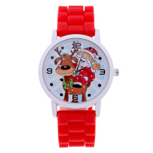 Fashion Colorfull Christmas gift Jelly Christmas Bracelets Santa Claus Silicone Gift Quartz Wrist Watch LL@17(China)