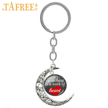 TAFREE Teaching is a work of heart moon pendant keychain the great Teacher's Day suprise gift key chains novelty jewelry CT680