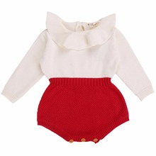 Long Sleeve Baby Rompers Newborn Baby Girl Clothing Knitted Girls Kids Jumpsuits;Baby Girl Romper 2017 for Autumn Kids Overalls(China)