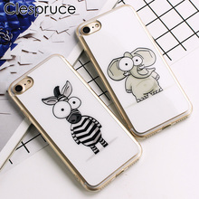 Clespruce Cute Cartoon Elephant Zebra Pattern Silicon Soft Case For iphone 8 7 7plus 6 6s 5 5s SE Cover White simple phone shell(China)