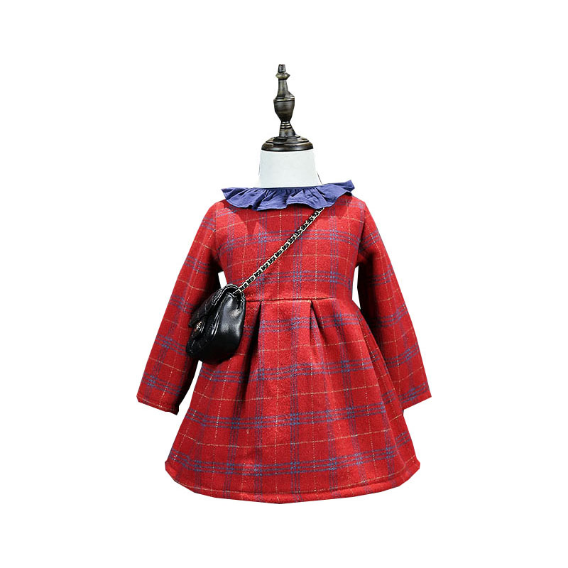 Toddler Girl Dresses Autumn Winter Long Sleeve Red Plaid Girls Party Dress For 2-7Years Cotton Princess Costume Baby Dresses<br><br>Aliexpress