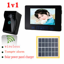 Solar power panel charger wireless video door phone photo memory indoor monitor tamper alarm night vision outdoor camera 1v1