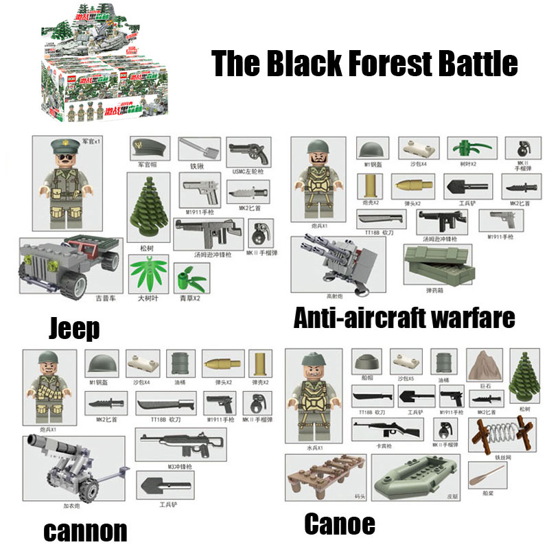 4PCS WW2 The Battle Of Black Forest Military Model Building Blocks Set Mini Army German Soldier Figures Bricks Toy For Kids <br><br>Aliexpress