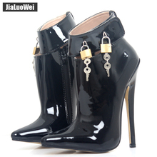 "Buy jialuowei 18cm/7"" Super High Heel Shoes Woman Dance Party Shoes Lockable Ankle Strap Women Sexy Fetish Thin Heels Padlocks Pumps"