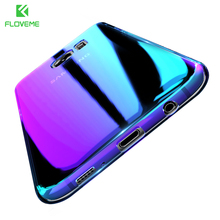 FLOVEME Case For Samsung S8 Plus S7 S6 Edge iPhone 6 6S 7 5 5S Clear Gradient Blue Light Hard PC Cover Case For Galaxy S8 S7 S6
