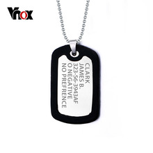 Vnox Personalized ID Necklace Pendant Stainless Steel & Silicone Dog Tag Jewelry Provide Engrave Servise