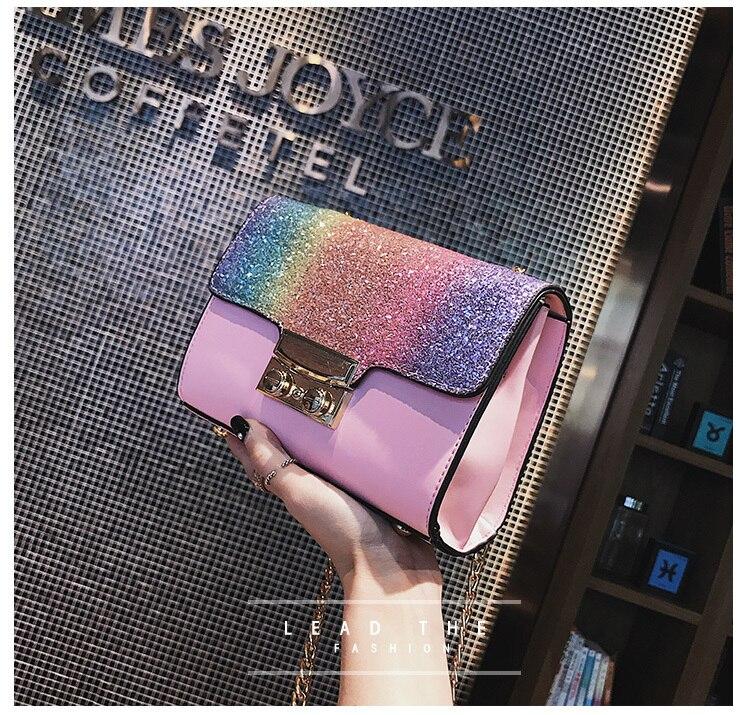 Gradient Rainbow Shiny Women Handbag Paillette Bling Bling Female ... 13f58cd36d73