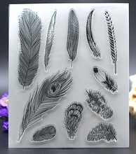 Clear Stamp for DIY Scrapbook Card album paper craft  silicon rubber roller transparent stamp bird feather pen