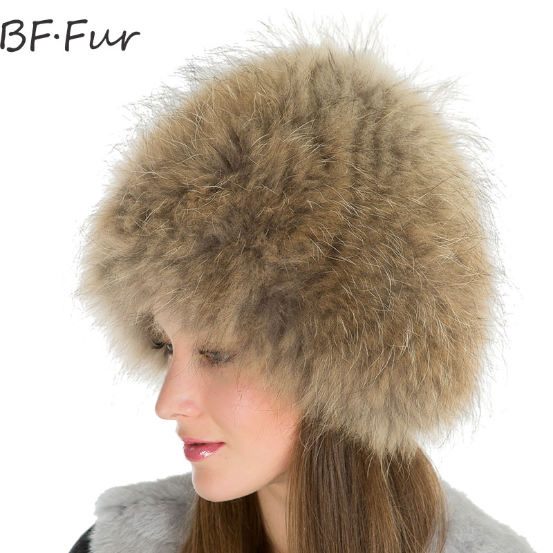 Russian Winter Warm Beanies Hats For Women Thick Real Raccoon Fur Cap Natural Color Round Adult Bonnet Female Casual Animal HatsÎäåæäà è àêñåññóàðû<br><br>