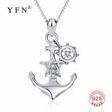 YFN Genuine 925 Sterling Silver Ship Anchor Necklace Star Crystal CZ Pendants Necklaces Fashion Jewelry Gift For Women(China)