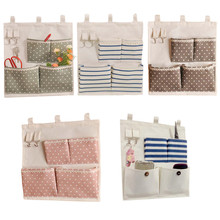 Dot Striped Waterproof Hanging Storage Bags Cotton Linen Door Wall Mounted Jewelry Clothing Organizer Pouchs Bag Home Decor