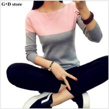 Knitted Sweater Women Autumn Winter Split Women Sweaters And Pullovers Female Pink Tricot Jumper Pull Femme(China)