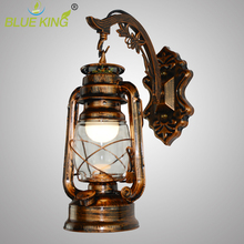Hand brush painted brown tree trunk bend wrought iron metal wall sconce light fixture For balcony,dinning LED Kerosene Lamps(China)