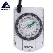 Hewolf Mini Baseplate Compass Map Scale Ruler Outdoor Camping Hiking Cycling Scouts Military Compass Free Shipping