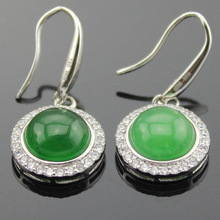 famous brand round natural Semi-precious stone green earrings green chalcedony earring inlaid jewelry 925 silver