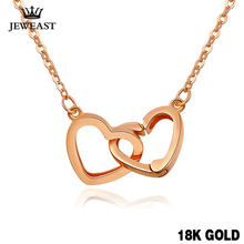 XXX Pure 18k Gold Necklace Pendant For Women Heart Charm Chain Fine Jewelry Elegant Romantic Fashion Real True Solid Party(China)