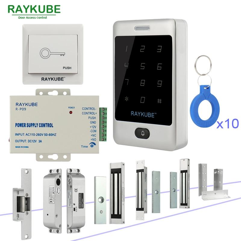 RAYKUBE Door Access Control Kit System With Metal Touch Keypad RFID Keys Electronic locks Kit Set <br>