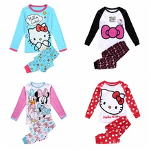 Baby Boys Spiderman Pajamas Sets Spring Autumn Full Sleeves Boy hello kitty Pajamas SetsT-Shirt+TrousersKids Sleepwear Sets(China)