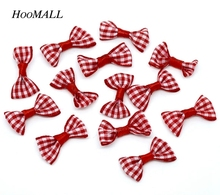 Hoomall 100 Red Ribbon Checked Bowknot Webbing Scrapbooking Embellishment Wedding Favor Party Christmas Decoration DIY New(China)