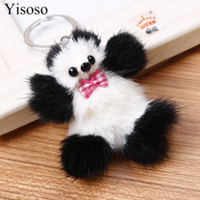 Yisoso Real Mink Fur Keychains Pom Pom Car Keychian Plush Fluffy Animal Panda Key Chain Rings For Phone Bag Charms Pendant Toys