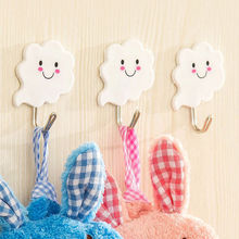 3 PCS Seamless white clouds super strong sticky hooks multipurpose metal-free nail coat hooks
