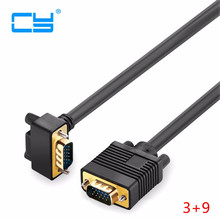 Original Singal 90 degree down angled VGA 3+9 RGB 15Pin Male to male projectors VGA Video Monitor Connector Cable 1.5M 3M 5M 10M