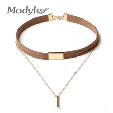 Modyle Fashion Black and Brown Velvet Choker Necklaces Jewelry For Women Gold-Color Statement Necklaces Collares Hot