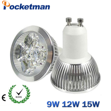 1pcs Super Bright 9W 12W 15W GU10 Dimmable LED Bulb 110V 220V Led Spotlights Warm/Cool White GU 10 LED lamp