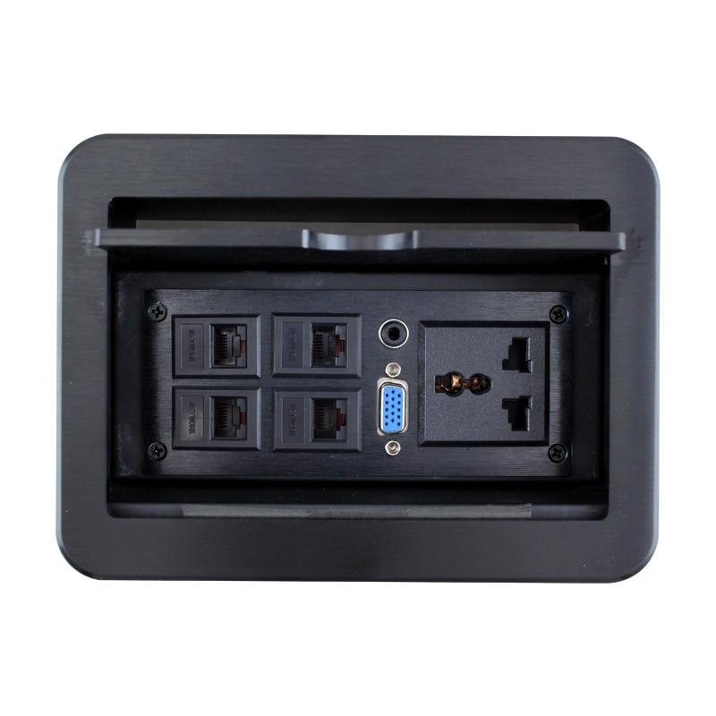 New LD-0422 slide multimedia desktop socket conference table insert VGA4 network office panel<br><br>Aliexpress