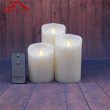 Flickering Flameless Pillar LED Candles Set of 3 with RC Real Wax Dancing Flame Pillar Candle for Decoration(China)