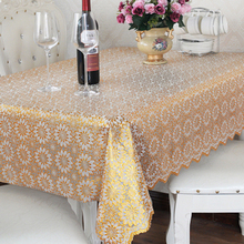 PVC Tablecloth Dining Table Plastic Cover Coffee End Table Cloth Waterproof Round Square Rectangle Sun Flower Custom Made