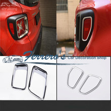 Free shipping for 2015 2016 JEEP Renegade 2pcs/lot ABS Chrome Car Accessories car stickers rear Taillight decorative frame cover