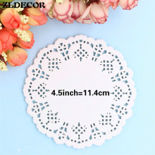 ZLDECOR 4.5Inch White Hollowed Lace Paper Doilies Placemat Crafts for DIY Scrapbooking/Wedding Party Event Cake Decoration(China)