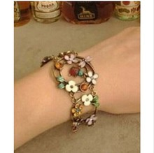 new fashion Cute Vintage Retro Colorful Ladybug Dragonfly Flower Rhinestone Chain Bracelet for women 4BD29