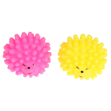 2pcs Small Squeaky Dog Round Soft Rubber Hedgehog Interactive Chew Toys(China)