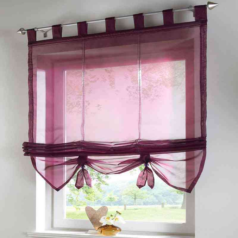 Short Kitchen Curtain Solid Sheer Cortinas 7 Color Roman Curtain Blinds Screening Panel Tulle for Window Treatments