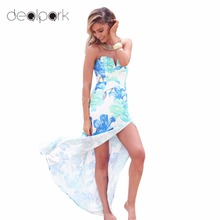 2017 Sexy Women Strapless Maxi Dress Floral Print Dress Color Block Backless Split Slim Long Beach Holiday Dress vestidos mujer