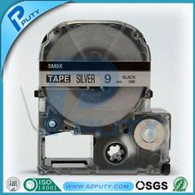 5 pcs/lot Hot sales 9mm Black on Matte Silver SM9X LC-3SBE Laminated Tepra label tapes cassette