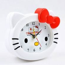 Kawaii Hello Kitty Alarm Clock Table Desk Clocks Birthday Gift For Kid(China)