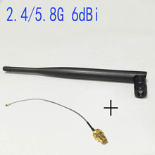 2.4G/5Ghz dual band antenna 6dbi high gain  Omni  RP-SMA plug + IPX- RP SMA jack cable 15cm