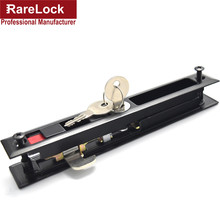 Rarelock Christmas Supplies Sliding Door Lock Interior Black Color Locks Zinc Alloy with 2 Brass Key Funiture Latch d