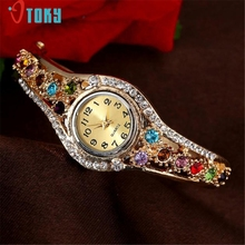 Drop Shipping Women Colorful Crystal Diamond Bangle Bracelet Watch 170629