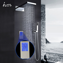 "hm Digital Shower Head 22"" Touch Waterfall Thermostatic Shower Controller Shower Set Rainfall Massage Bath & Shower Faucets(China)"