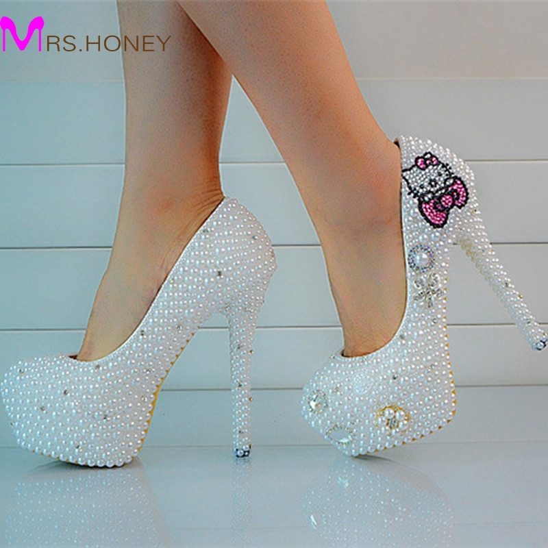 Sweet Pearl Crystal Beaded Round Toe ladys formal shoes Womens High Heels Beaded Bridal Evening Prom Party Wedding Dress Bride<br><br>Aliexpress