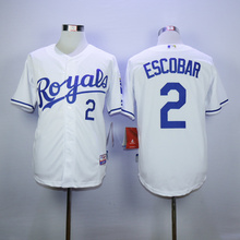 MLB Men's Kansas City Royals jersey Escobar 2# Baseball Jerseys White Home Cool Base Player Jersey(China)