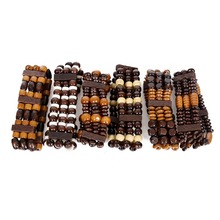 2018 Sale Bracelets & Bangles 10 Pieces Style Multilayered Wooded Beaded Elastic Bracelet Men Stretch Wristband Random Color(China)