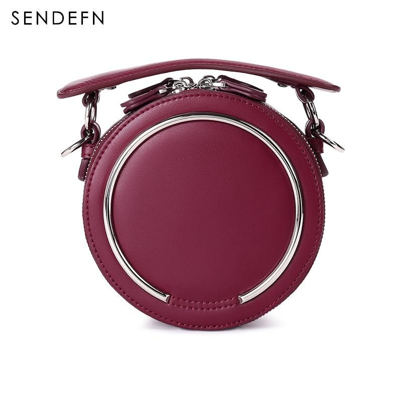Sendefn 2017 Fashion Women Bag Split Leather Crossbody Bag Small Circle Bag Women Handbag With Zipper<br>